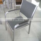 Aluminum Brushed Chair with Wooden Handle/ Paito Wicker Woven Dining Chair