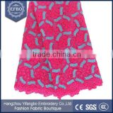 Polyester metallic yarn water soluble lace fabric chinese made durable embroidered lace nigerian woman dress cord lace fabric