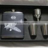 hot sell stainless steel hip flask with leather cover/promotional gift set wine pot
