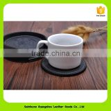 Eco-friendly custom blank leather tea cup coaster 16016