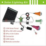 Portable solar system, 12W clean energy solar panel kits made in China(JR-CGY3-12W)