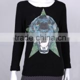 Unique products women crew neck black custom plain knitted sweater with tiger face pictures printing