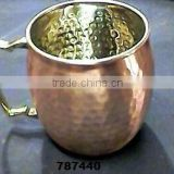 Copper Metal Lacquered Beer Mug,Tankard With Brass Handle,Moscow Mule Mugs