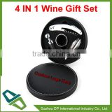 Promotional 4 In 1 Alloy Wine Gift Set With Leather Gift Box
