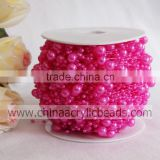 wedding factory wholesale pink 3+8MM faux round pearl ball christmas wired bead garland flower string for centerpiece by roll