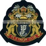 Hand embroidery golden & silver bullion wire badge