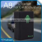 Hot Selling Mini A8 A9 GPS Tracker for Cars Child Elder Alzheimer Pets Dogs Cats Luggage LBS GSM real time online system gps588.