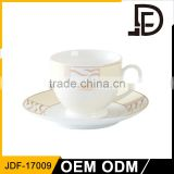 Factory directly sell bone china coffee cup and saucer set fine china porcelain tea cup and saucer with golden design
