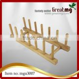 Kitchen Wood/Bamboo Holder Dish Storage Tray Rack Drainer Plate Stand - Rouge, 37.5*12.5*11cm