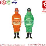High quality 100% flame retardant fabric 97type Green Orange security fire fighting uniform