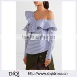 Wholesale Women Apparel Blue and White Off-the-shoulder Ruffled Striped Cotton Top(DQE0371T)