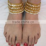 Designer PEARL polki payal ANKLETS pair feet bracelet Gold plated