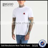 MGOO Latest Blank Organic Cotton T Shirts Mens White Fitness T Shirt Embroidered With Flora