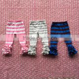 100% cotton baby girl's icing pants baby triple ruffles stripe icing pants