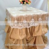 Champagne Satin and Lace Banquet Gathered Table Skirts