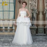 ED Strapless A-line Bead Bow Appliques Ankle Length Organza Wedding Dress
