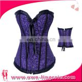 Sexy steel boned overbust corset ruffles Lace Corset bride vest Dress