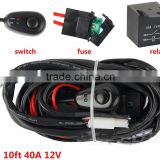 10ft 40A 12V Switch Relay Wiring Harness Kit for LED Work Light Bar 2 Lamps 100W for automobile