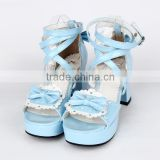 7.5cm high Heel sweet Blue,Pink, Black, Brown Ankle Buckle Straps Bow PU girl Lolita Shoes