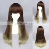 High Quality 65cm Medium Long Straight Blond&Green Mixed Lolita Wig Synthetic Anime Wig Cosplay Hair Wig Party Wig