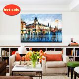 Modern Hand painted no printed abstract city scenery frame oil painting YB-138