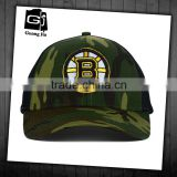 Factory design 3d embroidery logo 6 panel custom camo curvd brim mesh cap