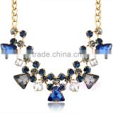 Statement gold plated sapphire latest design beads necklace