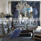 Foshan Luxury Antique European Style Furniture Living Room Solid Wood Hand Carved Sofa Design Furniture Sets
