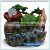 Indoor tabletop water fountain with Jungle elephants with Led Light