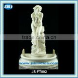 white stone classical garden water fountain with naked lady