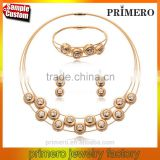 Fashion Charm Gold Stainless Steel High Quality Steel Wire Necklace Earrings Bracelet Jewelry Sets