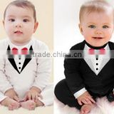 Baby Boy Kids Children's Long Sleeve Fancy Jumpsuit Baby Bowknot Jumpsuit Clothes