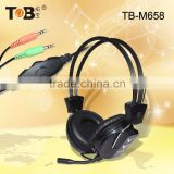 2015 Fashion computer headphones with external microphone and volume control, headphone with detachable mic,usb headset adapter