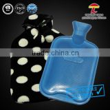 BS Standard Natural Rubber Hot Water Bag with white dots coral fleece cover                                                                         Quality Choice
