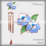 MX060005- wholesale tiffany style stained glass wall hanging flower decoration metal wind chime