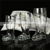 Clear transparent Customized different size Beer boot glass 1L and 500ml volume handmade OEM decal logo                                                                         Quality Choice