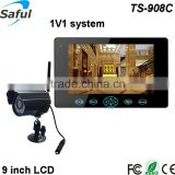 "Luxury and fashion 9""TFT-LCD 2.4Ghz wireless security monitoring system supporting 32 sd card"