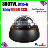 Day/Night indoor dome camera sony Effio-A 800tvl 2.8-12mm manual zoom lens with OSD menu plastic cover cctv dome ir camera