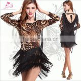 2016 Wholesale top grade sexy tassel ballroom latin dance skirt leopard cheap latin dance dresses on sale