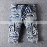 2016 hot sales summer vogue men biker denim skinny fashion vintage carrgo biker jeans shorts half pants