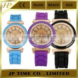 vintage bling crystal bezel candy silicone rubber strap woman watches 2014