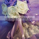 home&wedding decoration, hot sale quality purple silk bridal wedding flower, factory direct artificial flowers