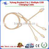 Multiple USB Charger Cable Braided Nylon 3 in 1 USB Cable for iphone,Micro USB,Type C Connector                                                                         Quality Choice