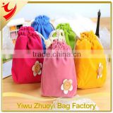 Candy color button flower decoration cosmetics, jewelry, mobile phones,small portable cotton drawstring storage bag