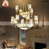 Arabic Modern Chandelier Brass Light with Glass Shade