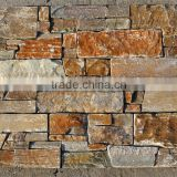 Natural Stone Cement Back Golden Quartzite Slate