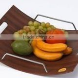 Curved Shape Design Fruit Tray With Metal in Assorted Color, Curved Shape Design, Wooden Tray, Water Resistant Tray