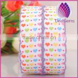 purple color 22mm width heart pattern satin ribbon with lacework
