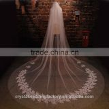 2015 wholesale white ivory long lace cathedral wedding veils accessories 5 meters long and 3 meters width with comb LV013