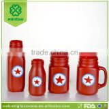 hand painted red star glass jars decorative candle jars
